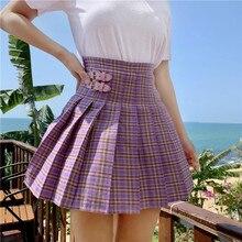 Ulzzang Koreanische Mode Lila Plaid Mini Rock Frauen Sommer Harajuku Hohe Taille Gefaltete Rock Schülerin Kleidung