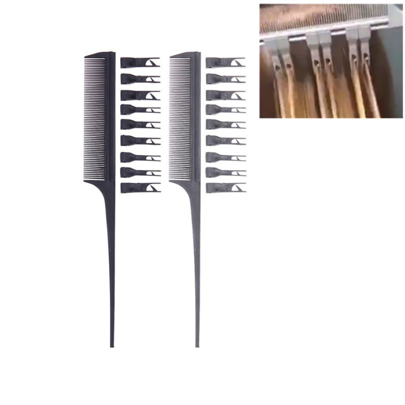 Hair Styling Coloring Dyeing Comb Salon Tool Fish Bone Rat Tail Comb Sectioning Highlight Weaving Cu