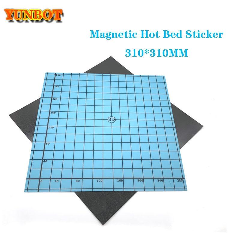 Impresión magnética, pegatina de cama caliente de calor de 310*310MM, pegatina de superficie de cama caliente con estampado combinado, azul para accesorios de impresora 3D