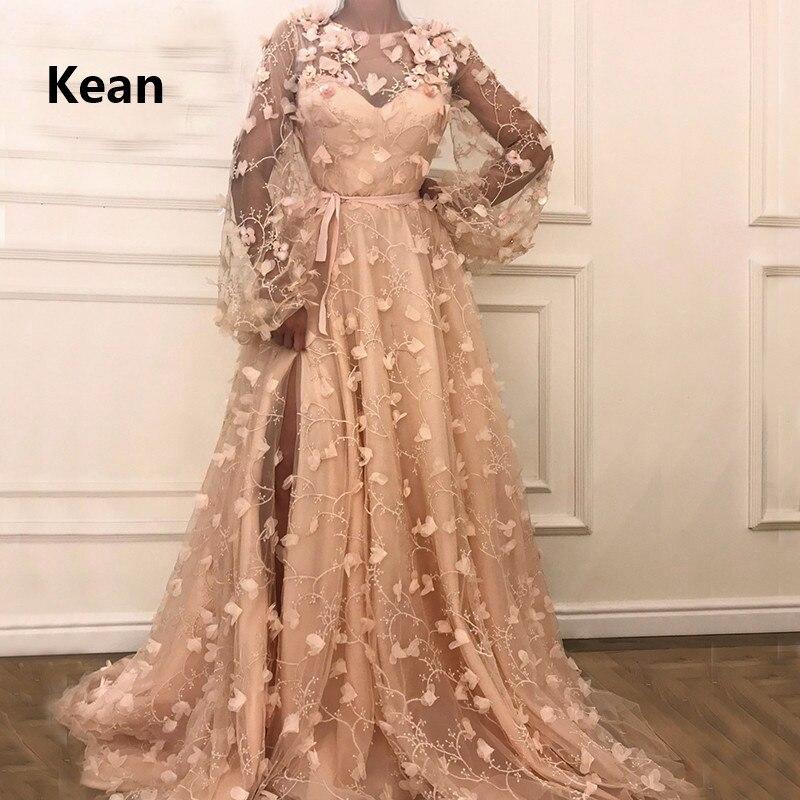Купить с кэшбэком Peach Muslim Evening Dress Flowers Lace Full Sleeve Lantern Slit Islamic Dubai Kaftan Saudi Arabic Evening Gown Prom Dress