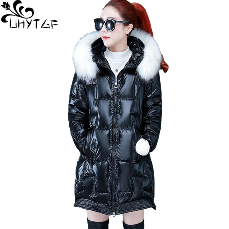 UHYTGF New Winter Jacket Women Quality Glossy Down Cotton Thick Warm Coat Mid-Length Hooded Casual Plus Size Parker Outwear 1152