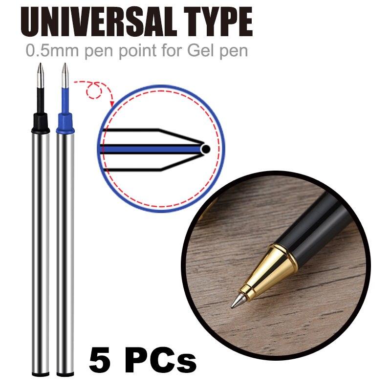 5Pc Groothandel Geïmporteerd Inkt Pen Vullingen 0.5Mm Water Refill Zwarte Orbs Blauw Metalen Vulling