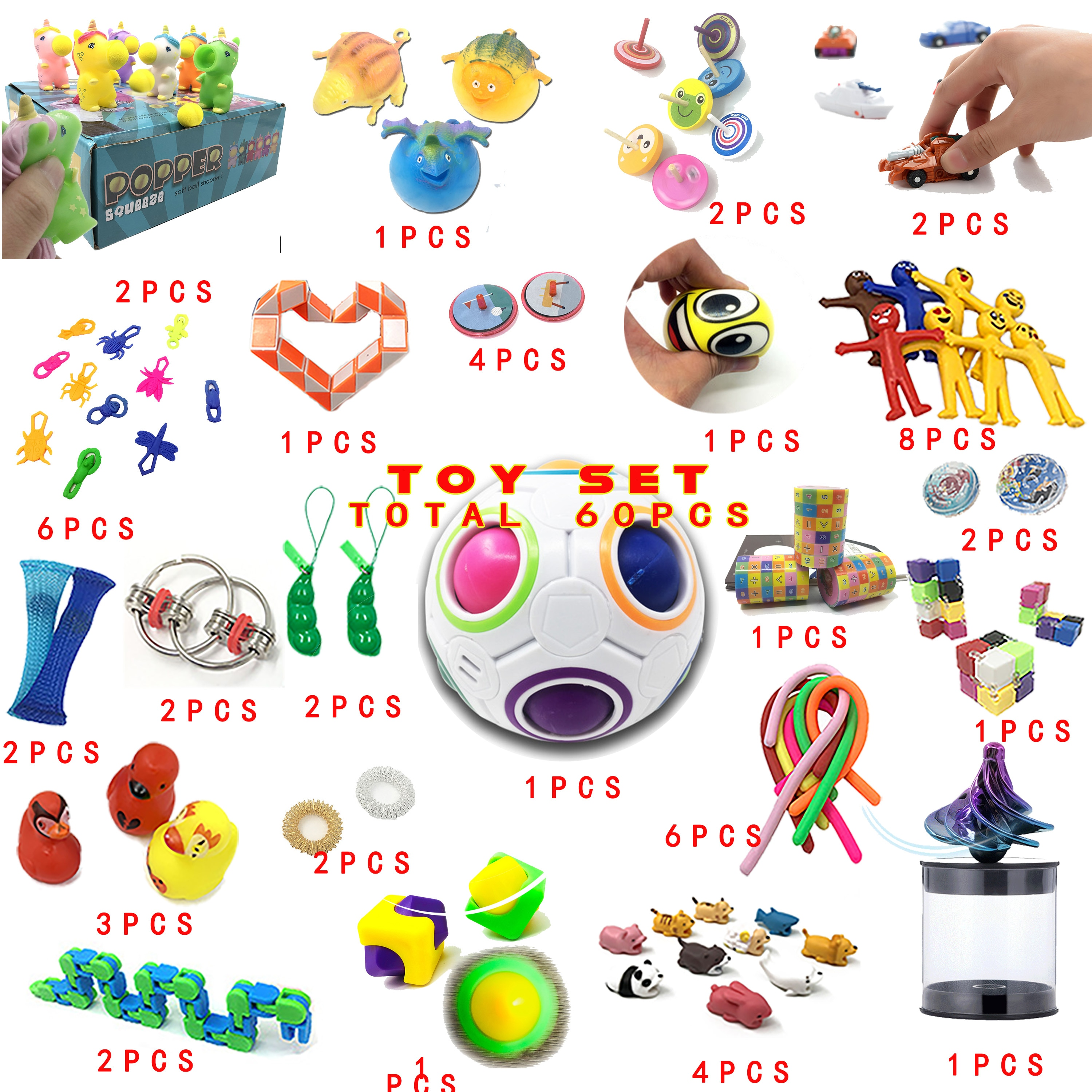 2020 New  Funny Sensory Fidget Combination 60 Pieces Extrusive-Solving Fidget Kids Toys Various Styles Set Wholesale