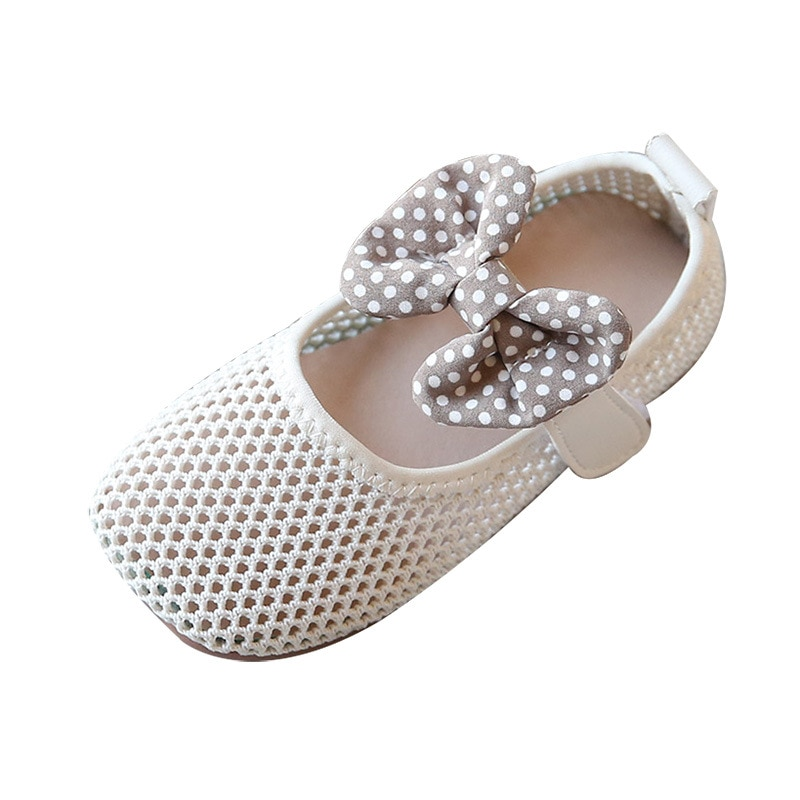 Girls' Single Shoes 2021 Spring New Bowknot Soft Bottom Mesh Breathable Wild Little Girl Non-slip Princess Shoes Girls Shoes