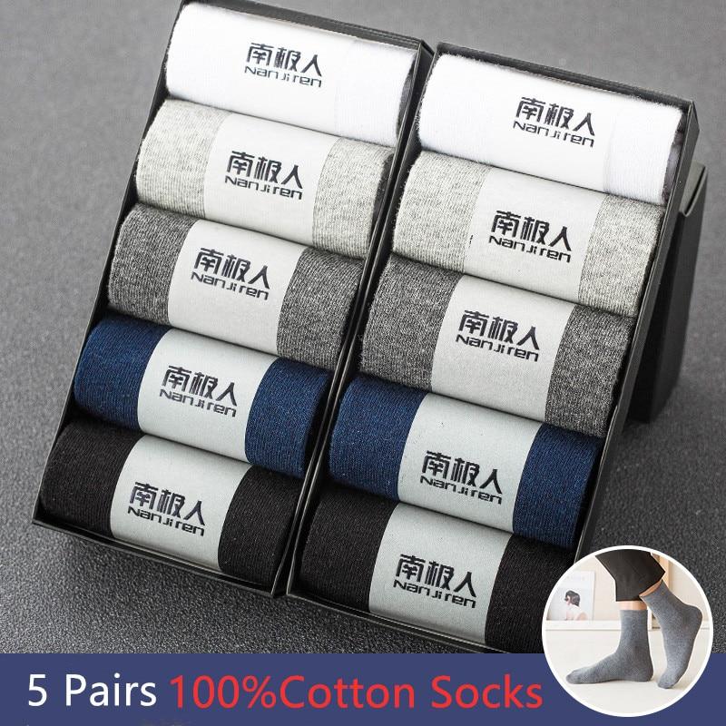 10 Pcs=5 Pairs Men Socks Casual Cotton long Socks Breathable Solid Color Men Black White Socks HOT SALE Male Business Socks