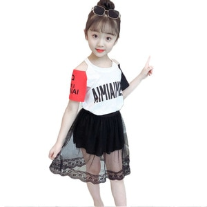 baby Kids Girls Clothes t shirt + mesh Skirt for Girl 2020 Summer Teenager Clothes Casual For Children 6 8 10 12 13 14 Year