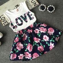 2 uds. Mini vestido Floral de Lolita para bebés y niñas + Top de manga corta Camiseta sin mangas con cuello redondo y falda conjunto de princesa de 2 a 7 años