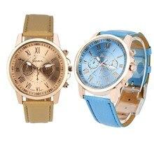 New Women's Geneva Roman Numerals Faux Leather Analog Quartz Watch Women Ladies Watches Fashion Luxu