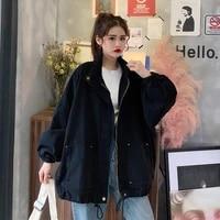sougen cargo coat women loose jacket casual lantern sleeve ladies jackets korean style oversize women clothes stand neckline
