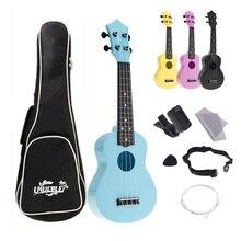 4 cordes 21 pouces Soprano ukulélé Kits complets acoustique coloré Hawaii Instrument de guitare pour les enfants et la musique débutant