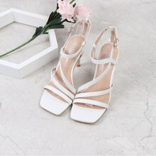 New Summer Female SexyTransparent Heel Women Ankle Cross Strap Sandal Shoes Ladies Square Toe High H