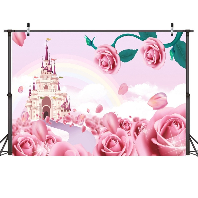 Valentines Day Backdrop Pink Castle Heart Shape Photography Background Backdrops for Couples Lover Shoot Photo Studio Prop