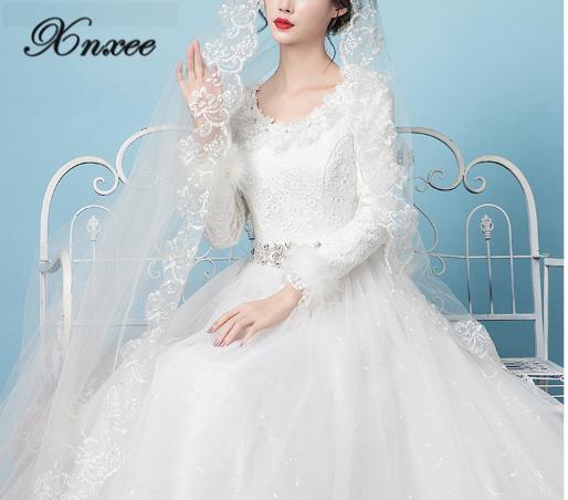 Xnxee vestidos de primavera 2020 nuevo blanco mangas largas estilo primavera grueso Simple Vetido