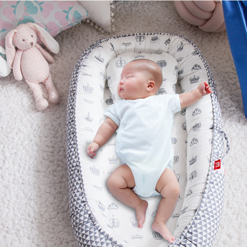 85*50cm Washable Baby Nest Bed with Pillow Portable Crib Travel Bed Infant Toddler Cotton Cradle for Newborn Baby Bed Bassinet