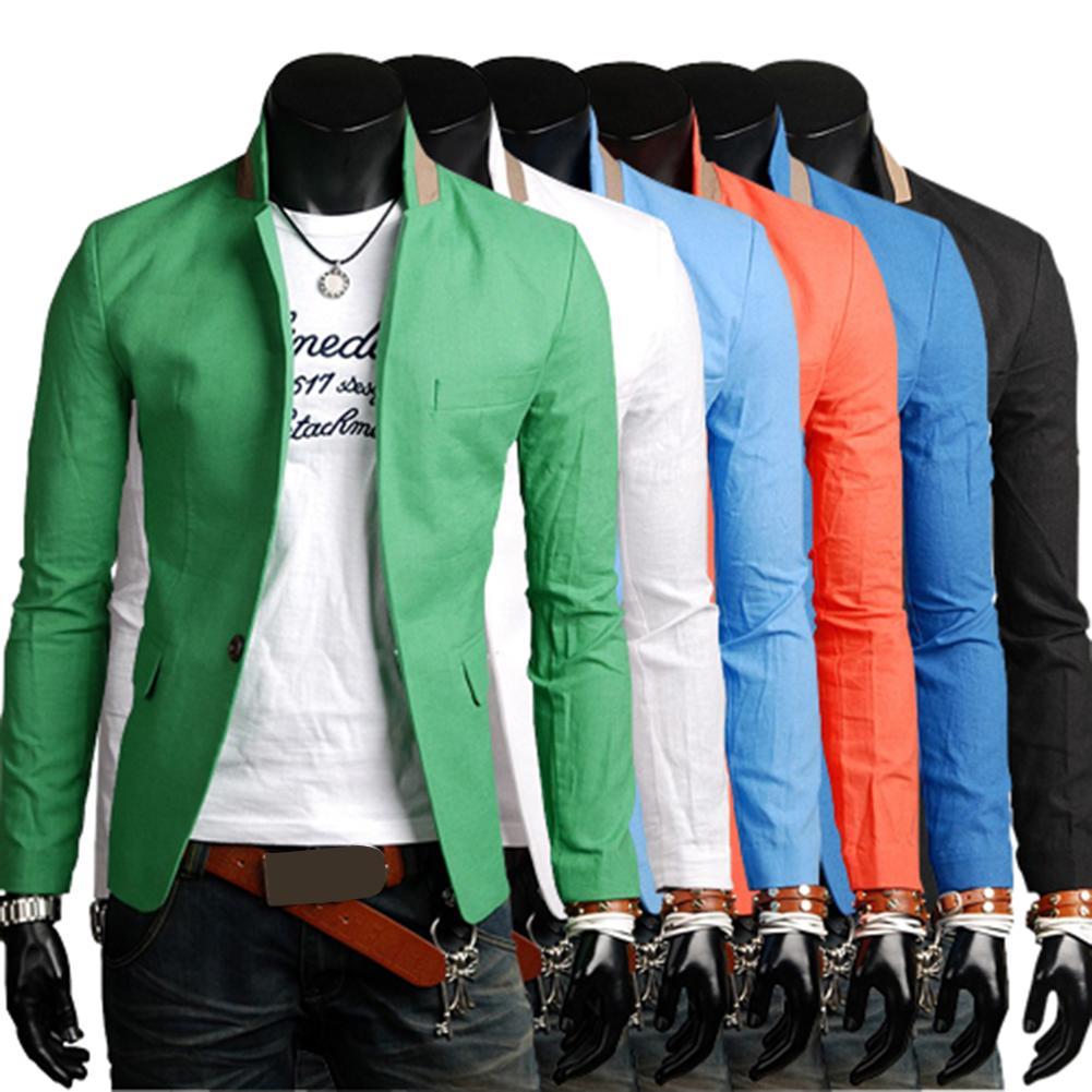Men Autumn Solid Color Lapel Collar Button Pockets Decor Business Coat Blazer One Button Pockets Decor Comfortable to Wear