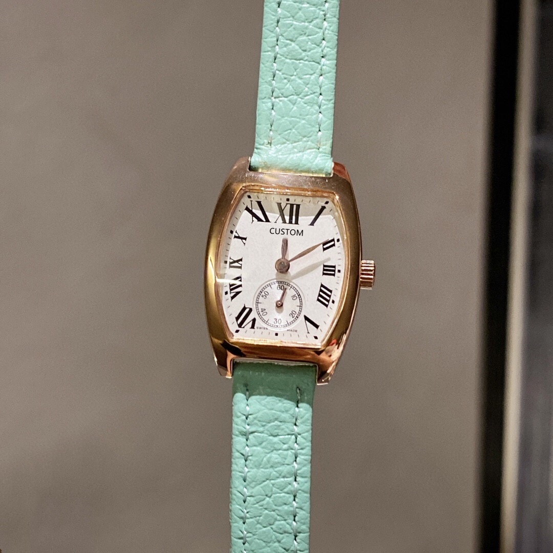 Fashion Brand Geometric Barrel Watches Women Sky Blue Leather Roman Number watch Female Stainless Steel Quartz Clock 31mm enlarge