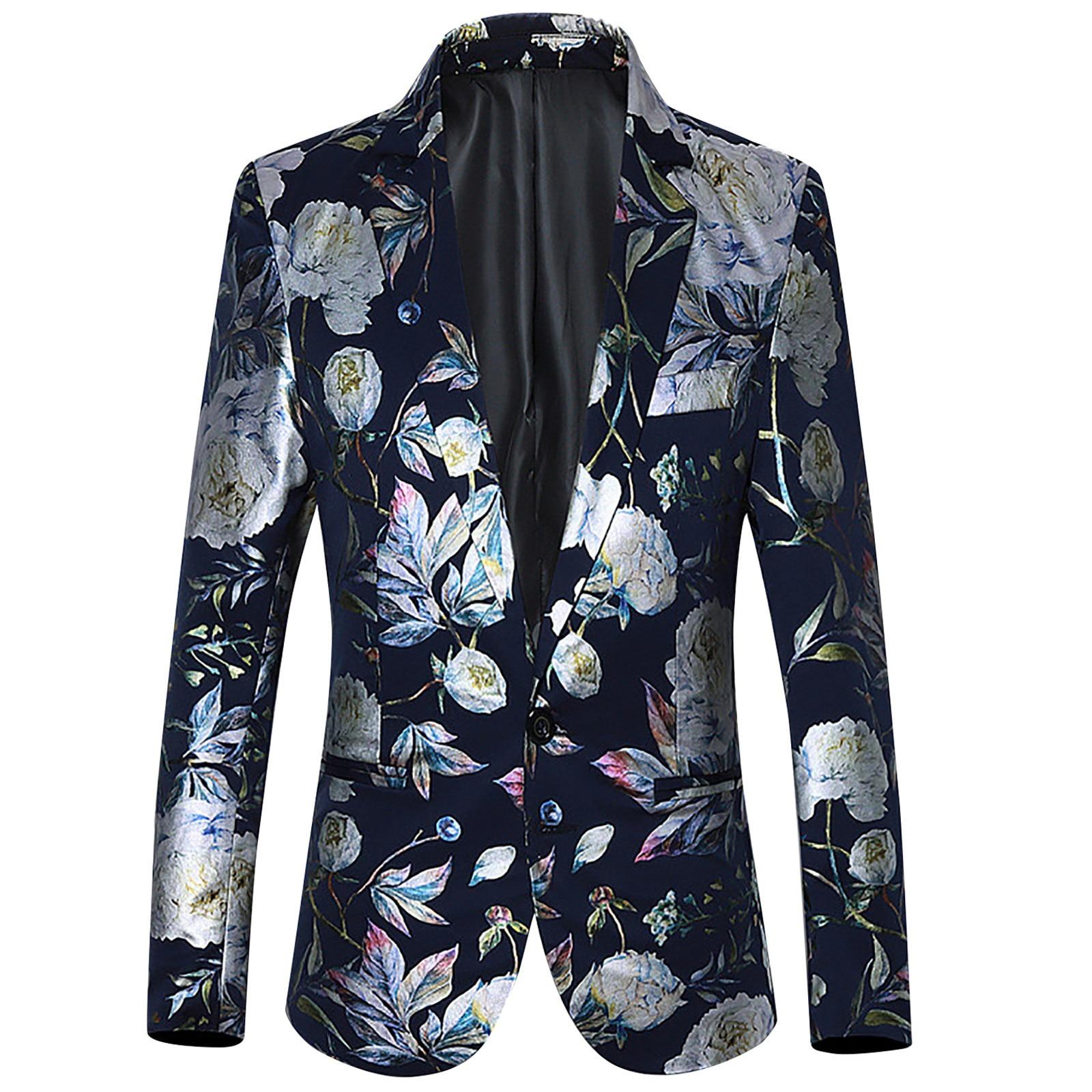 Designer Men's Blazer Fashion Men's Golden Tulip Pattern Print Blazer Jacket Double Breasted Men's W