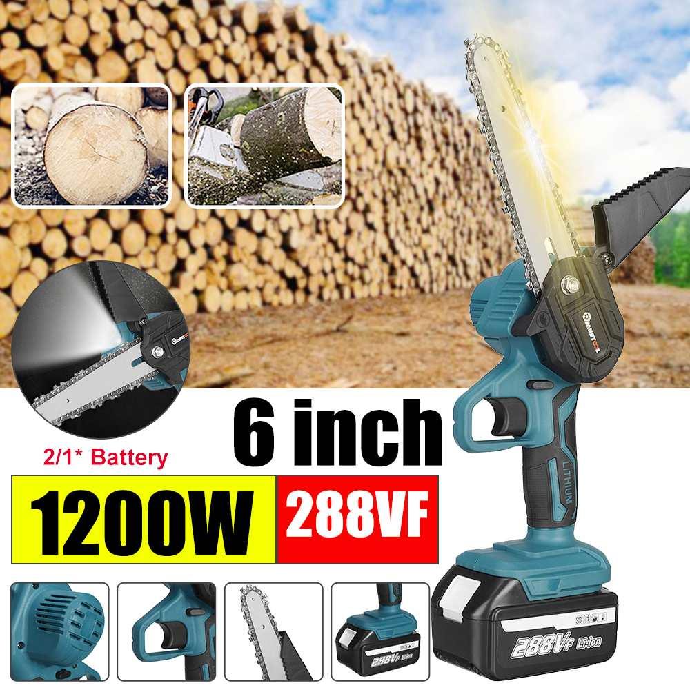 288VF 1200 واط 6 بوصة منشار كهربائي صغير بالمنشار حديقة شجرة تسجيل المنشار أدوات النجارة قاطع خشب لبطارية Makiita 18 فولت