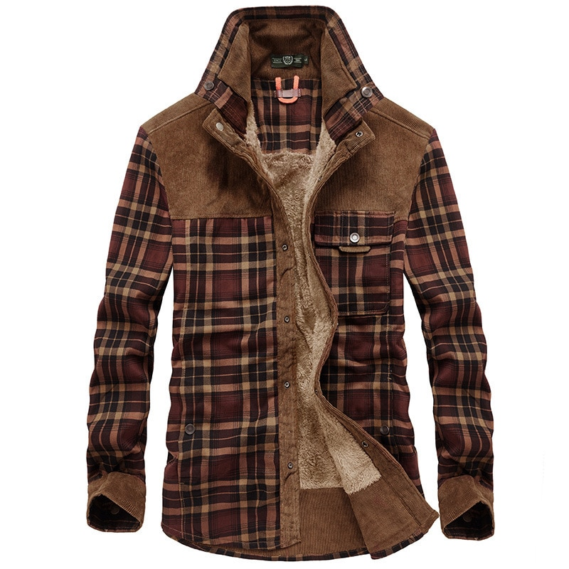 Thoshine Brand Spring Autumn Winter 100% Cotton Men Thick Jackets Fleece Fashion Warm Jacket Plaid S