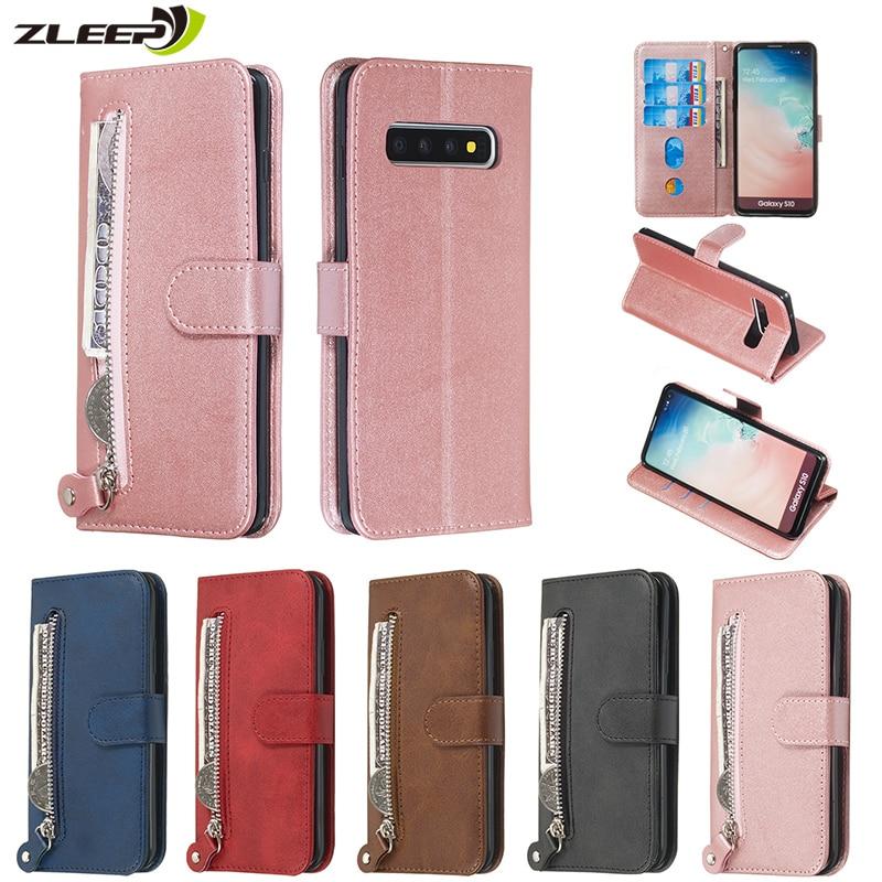 Portefeuille en cuir de luxe à glissière S20 Ultra Note10plus étui pour Samsung Galaxy S20 FE S10 E S9 Plus Note 8 9 10 + Coque de téléphone