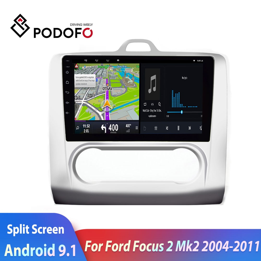 Radio de coche Podofo 2din, reproductor Multimedia Android para coche Ford Focus 2 Mk2 2004-20112din GPS, autorradio de doble pantalla, estéreo para coche