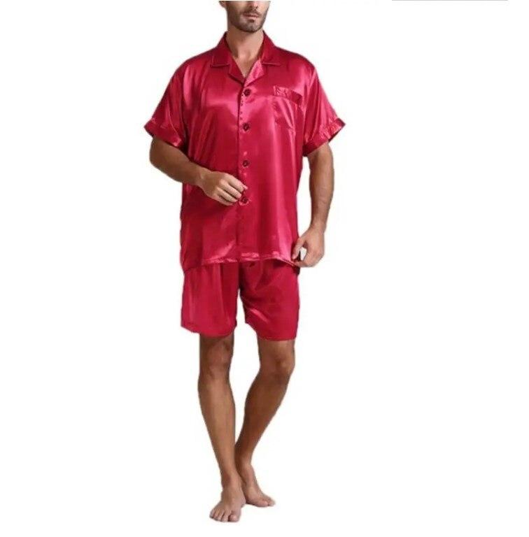 Мужчины пижамы комплект однотонный атлас лето рукав осень домашняя одежда шелк мужские пижамы костюм повседневный дормир топ пижамы мужские сна топы