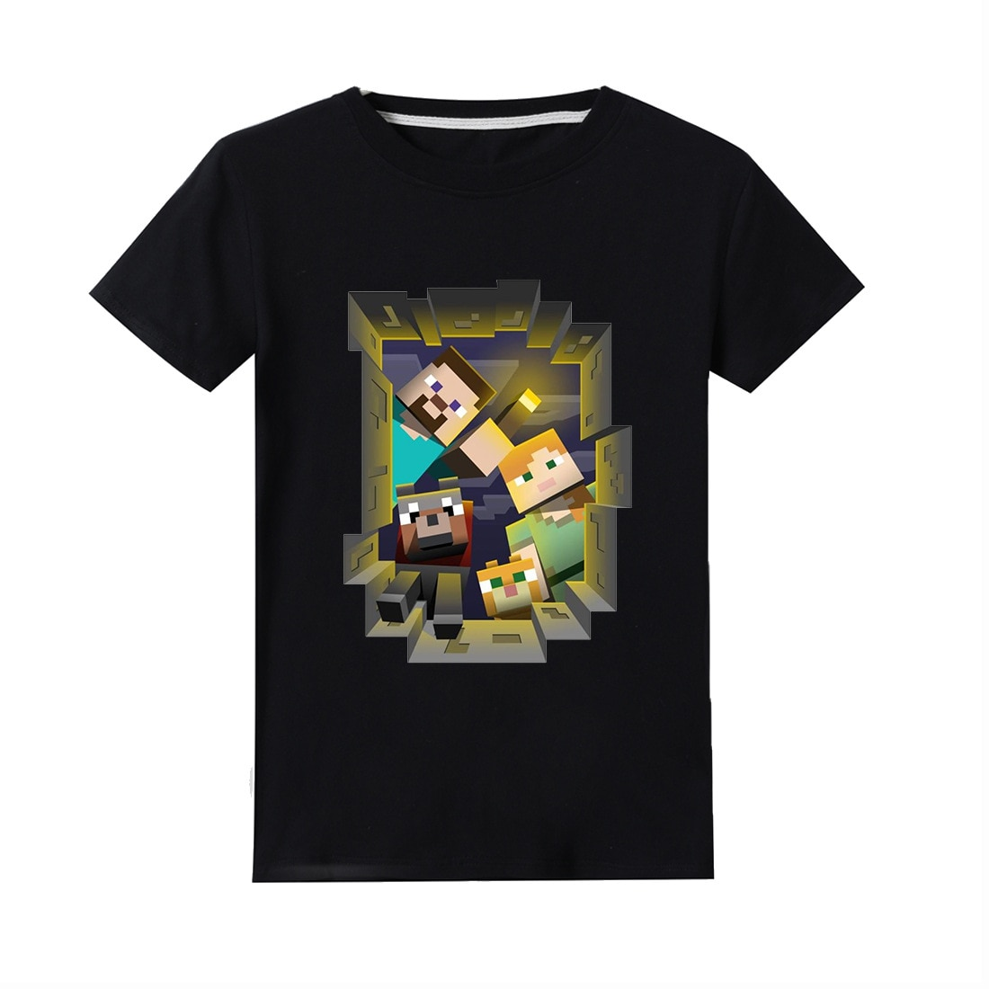 Vestido 2020 nuevo éxito Minecrafters mecontrote camiseta Camiseta de manga corta para niño pequeño niños Sudadera con capucha ropa niños niñas Negro camisetas o-cuello