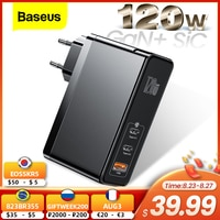 Зарядное устройство Baseus 120 Вт GaN SiC USB C, быстрая зарядка 4,0 3,0 QC Type C PD, быстрое зарядное устройство USB для Macbook Pro iPad iPhone Samsung Xiaomi