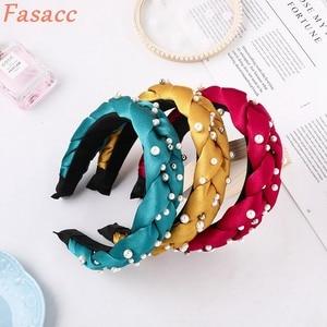 FASACC Woman Wide Thick Hairband Weave Pearl Twists Headband Hoop Fashion Girls Hair Accessories Bezel Handmade Women Headwear