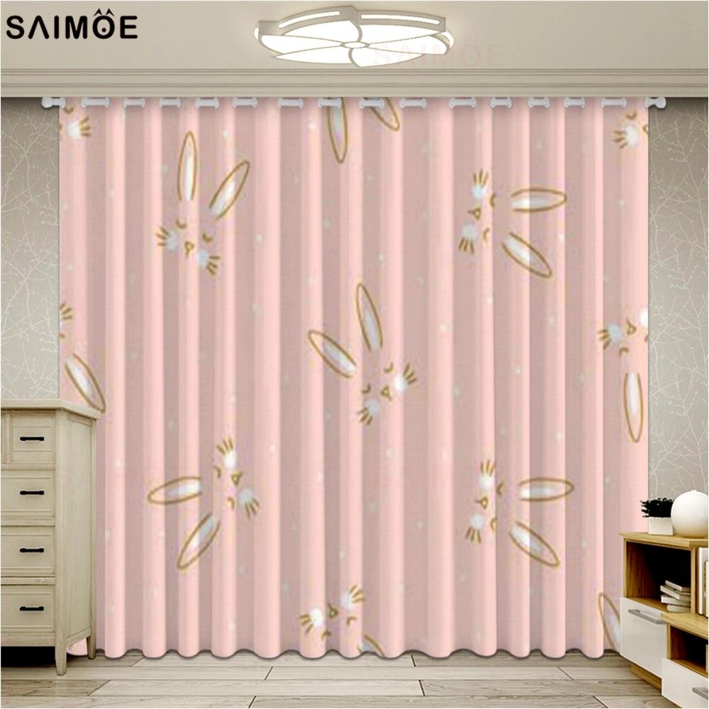 Hermosas Cortinas opacas de dibujos animados para niños, sala de estar, dormitorio de niña, Cortinas con ventana de conejo rosa, Cortinas para niños