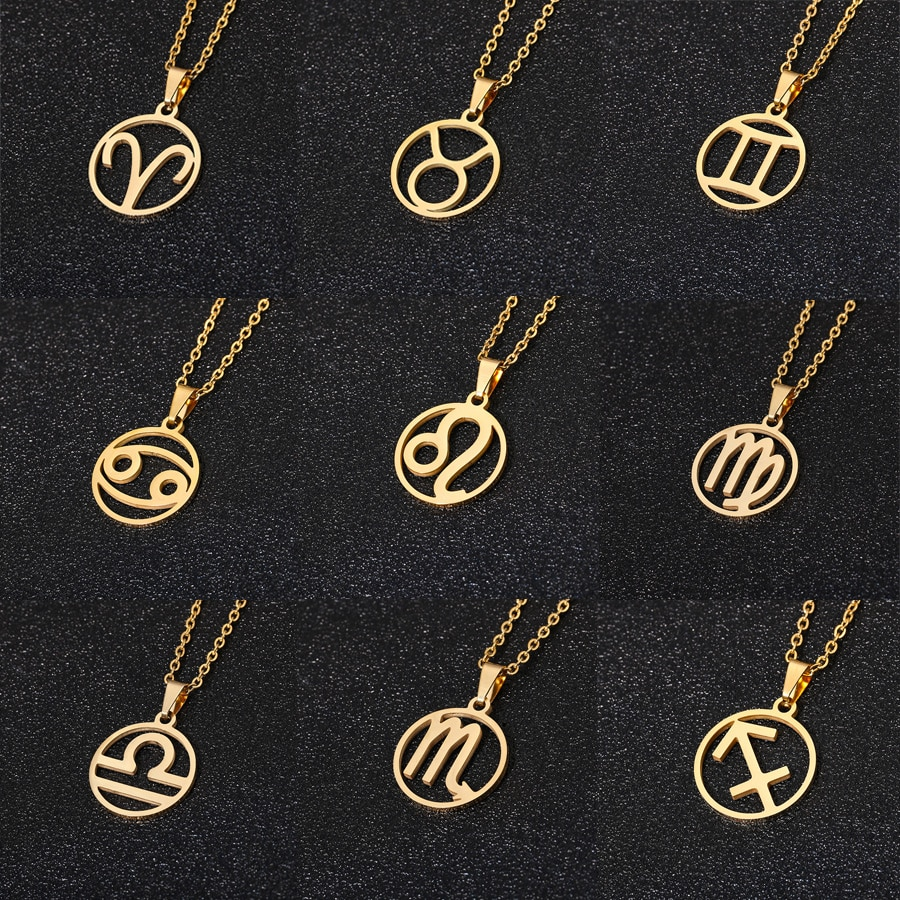 enfashion chinese zodiac ox necklace bull head stainless steel chain pendant womens necklaces jewelry ras de cou pfy183004 ox Rinhoo Stainless Steel Star Zodiac Sign Necklace 12 Constellation Pendant Necklace Women Gold Chain Necklace Men Jewelry Gift