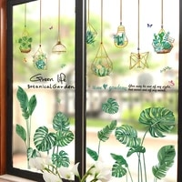 shijuehezi green potted plants wall stickers diy tropical leaves wall decals for living room bedroom kitchen home decoration