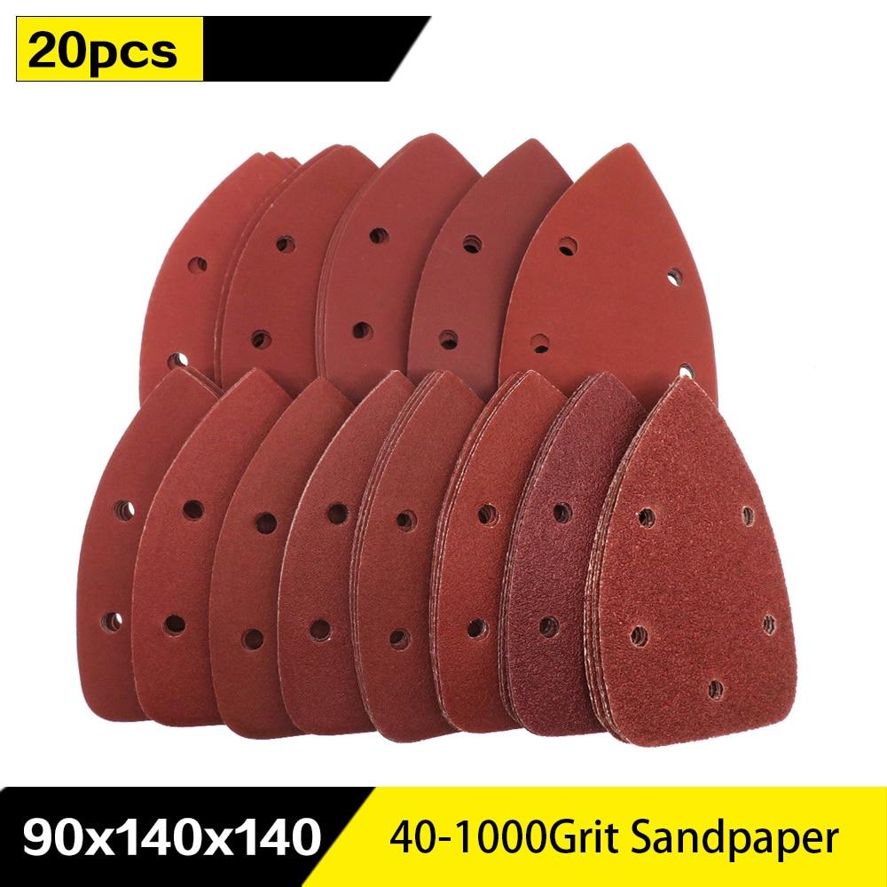 20pcs مثلث کاغذ سنباده خود چسب 5 سوراخ دلتا سنبل قلاب حلقه سنباده دیسک ابزار ساینده برای پرداخت 40-1000 شن