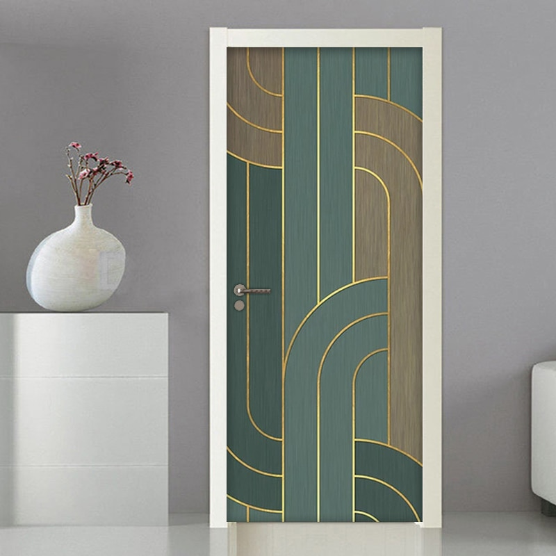 3D Door Sticker Striped Wall Mural Art Wallpaper DIY Self Adhesive Removable Poster Wall Decals Living Room Stickers Home Decor rock wall patterned door art stickers