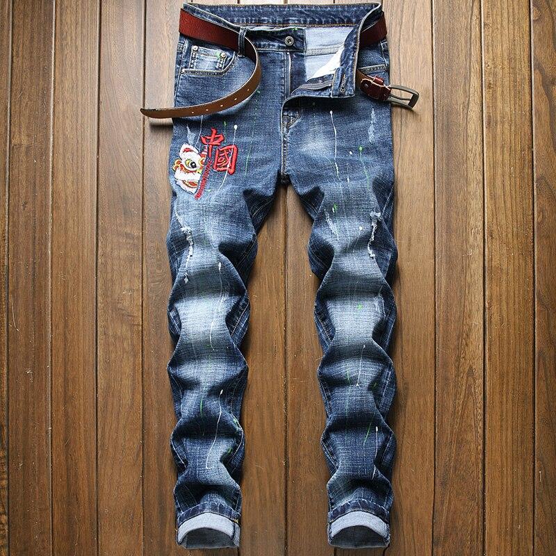 2021 вышитые джинсы, мужские трендовые вышитые джинсы, Мужские Стрейчевые джинсы, Мужские джинсы большого размера в китайском стиле