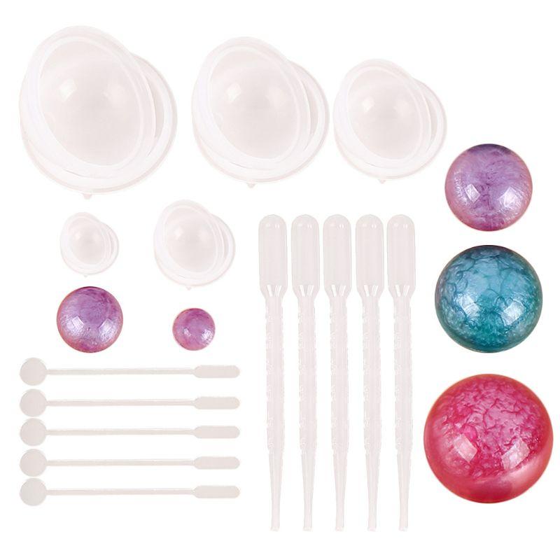 Moldes de resina epoxi de 15 Uds. Para joyería de esferas, moldes de silicona para Resina fundidos, juego de fundición, herramientas para fabricación de joyas