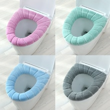 Winter Warm Toilet Seat Cover Closestool Mat 1Pcs Washable Bathroom Accessories Knitting Pure Color