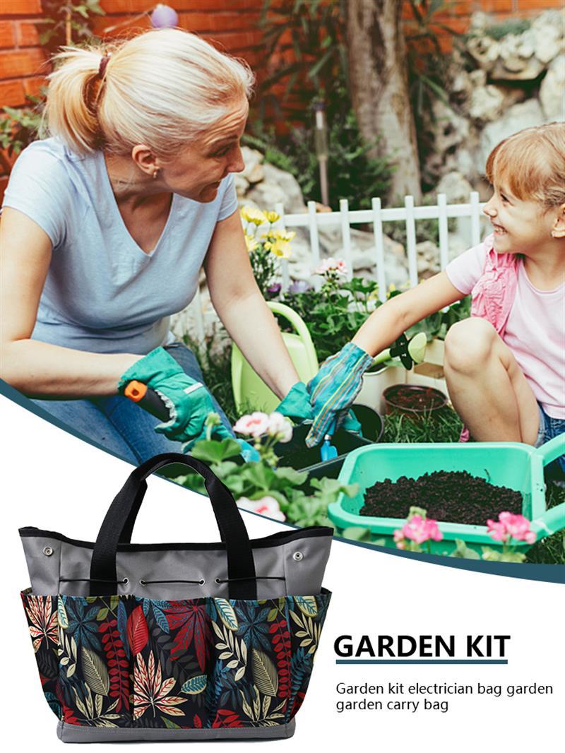 Garden Tool Bag Multifunctional Portable Wall Hanging Oxford Gardening Tool Organizer Handheld Pockets Outdoor Indoor