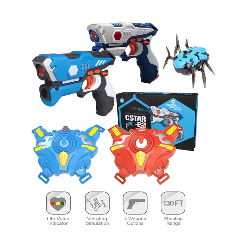 Outdoor Kids Infrared Laser Tag Toy Guns Blaster Weapon Pistola Plastic Model Battle Set With Vests Glasses Multiplayer CS Games
