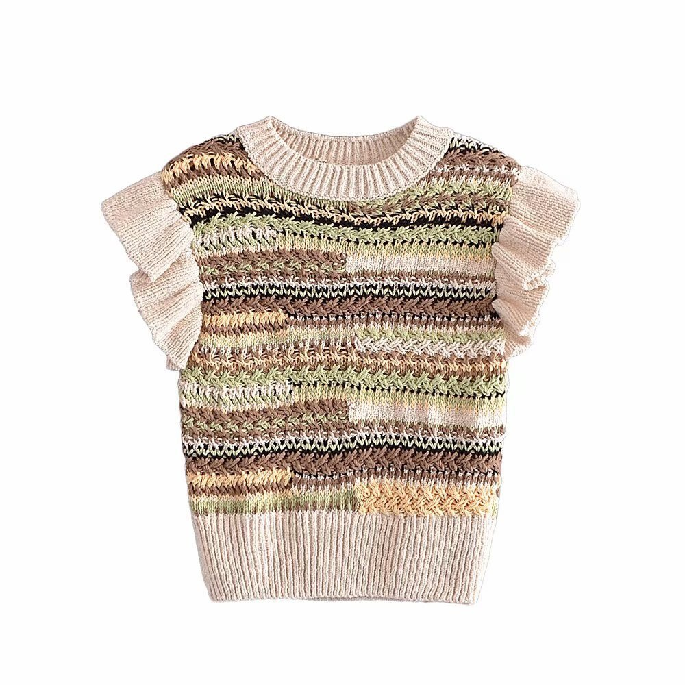contrast striped pullover sweater 2021 Ladies Sweater Vest Knit Small Fresh Round Neck Feifei Sleeve Contrast Striped Pullover Vest European American Autumn Tops