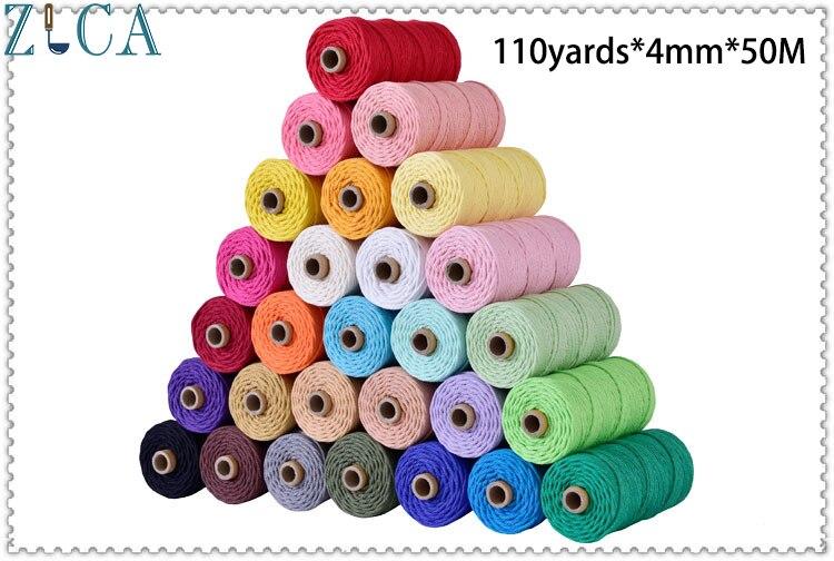 4mm X50M Bunte Seil Baumwolle Cord Thema Verdrehte DIY Macrame Tasche Home Decor Hochzeit Textil Verpackung Kunst 110yards freies Verschiffen
