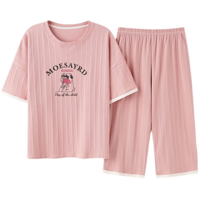 Short Sleeved Pajamas Women 2021 New Summer Pure Cotton Thin Loose Girls' Home Clothes Set