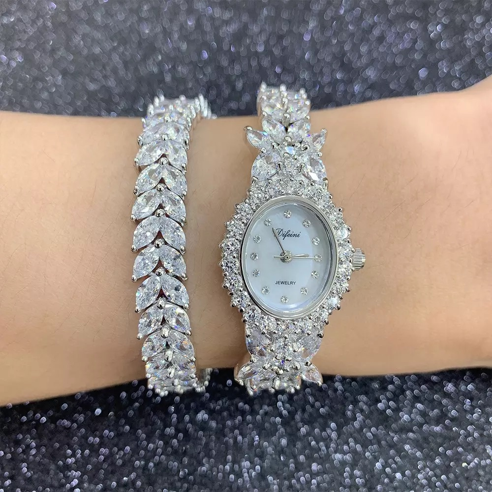 Top Sell Qualtiy AAA Zircon Elements Leaf Austrian Crystal Bracelet Watch for Wedding Party Fashion Jewelry Made with Wholesale enlarge