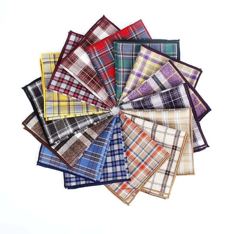 Pañuelos de algodón coloridos a cuadros con estampado de cuadros, cuadros cuadrados de bolsillo para hombre, pañuelos informales con bolsillos cuadrados de rayas, toallas