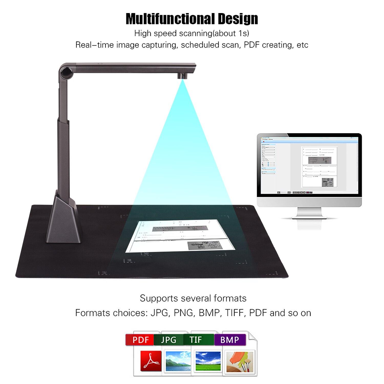 Escáner portátil A3 de alta velocidad para documentos, escáner de cámara de...