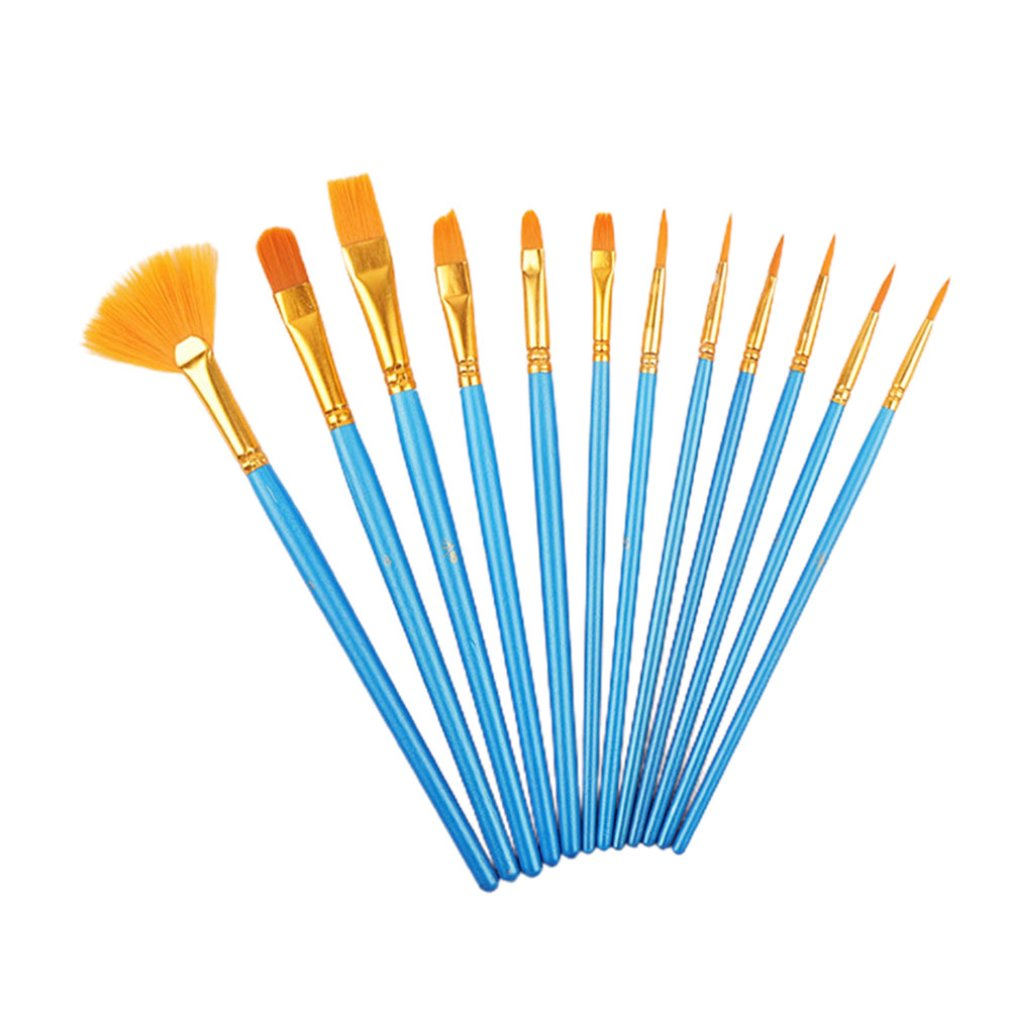 12Pcs Pearly Blue Rod Painting Watercolor Pen Set Nylon Wool Fan Oil Paintbrush Diy Acrylic Paint Brush