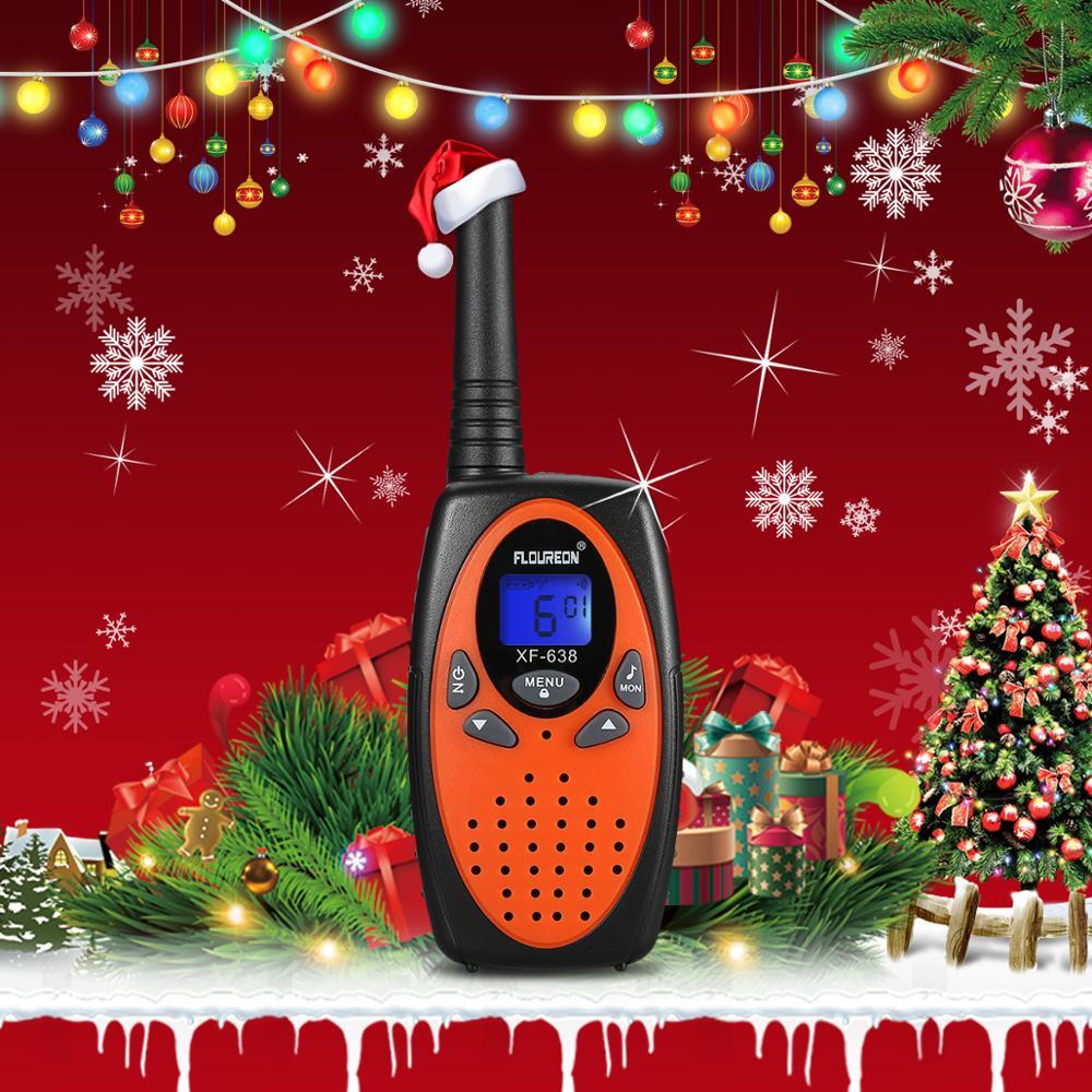 2 pçs floureon 8 canais crianças walkie talkies pmr 446 mhz UHF400-470MHz rádio em dois sentidos 3 km portátil interfone vox comunicador presente