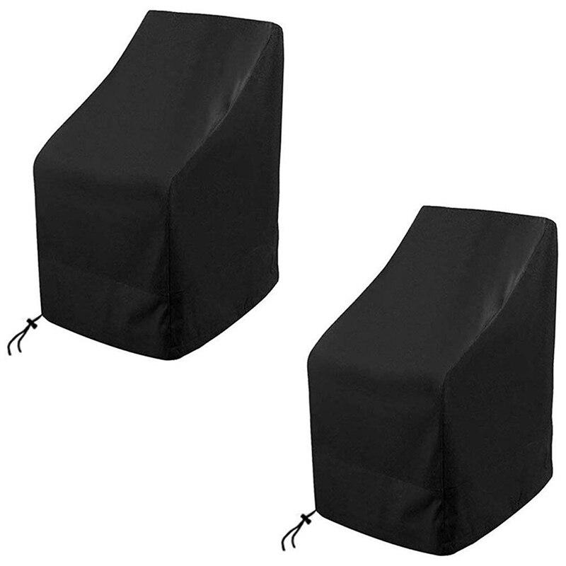 Cubierta impermeable para silla de casa, 2 paquetes de fundas para silla apilables para el hogar, cubierta para silla 420D Oxford impermeable y transpirable