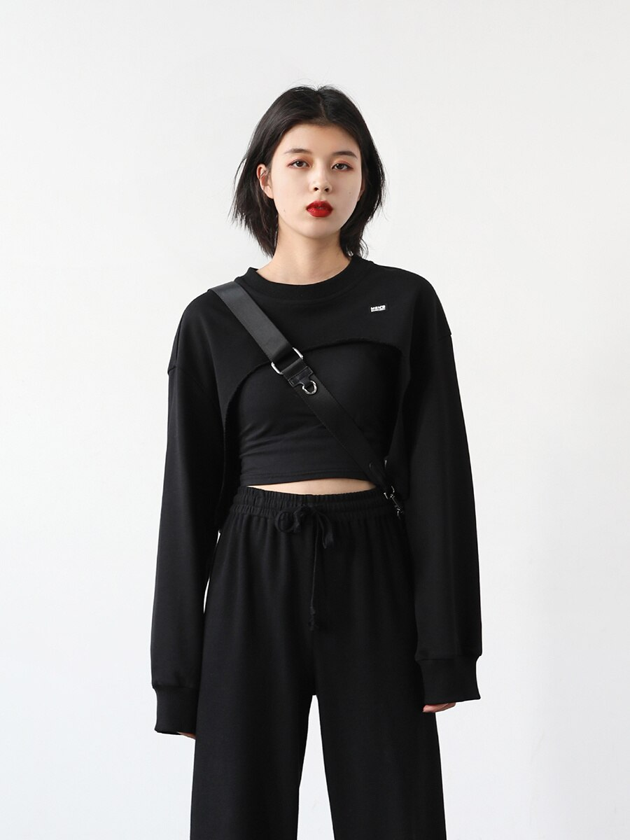 Design Sense Hoodie Cut Short High Waist Sweater Blouse Careful Hollowed Out And Folded Top Women's