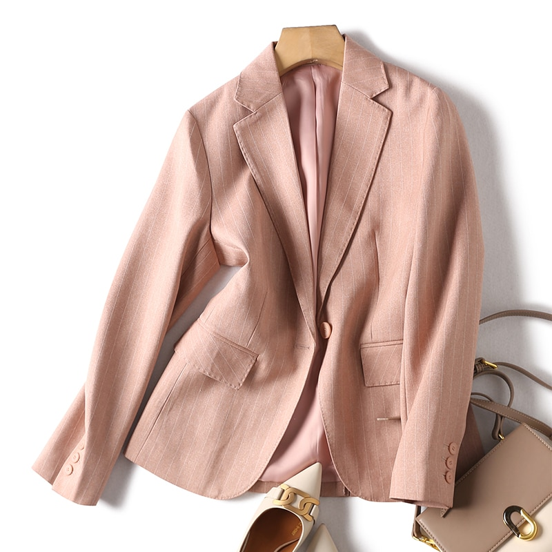SHUCHAN Pink Blazer Women Polyester Solid Single Button Notched England Style 2021  Striped  Office Lady  Jackets for Women